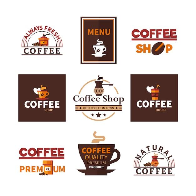 Coleção de emblemas coffee shop cafe Vetor grátis