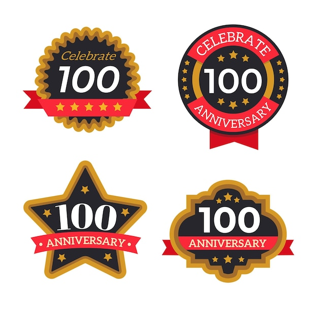 Coleção de emblemas de cem anos de aniversário Vetor grátis
