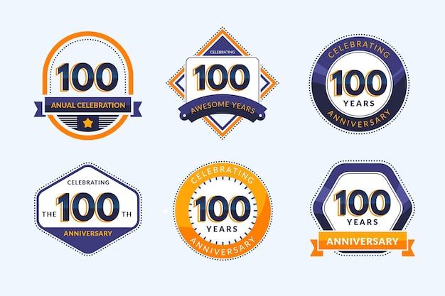Coleção de emblemas de cem anos Vetor Premium