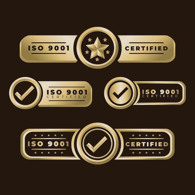 Coleção de emblemas de certificação iso Vetor Premium