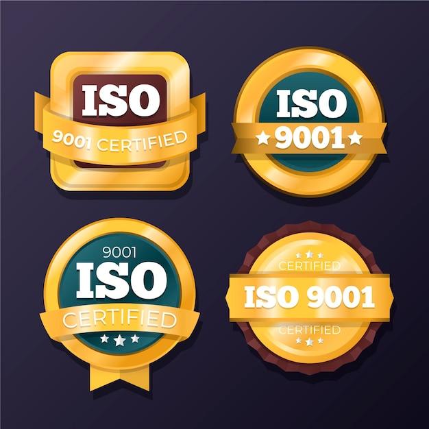 Coleção de emblemas de certificação iso Vetor grátis