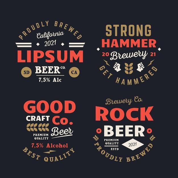 Coleção de emblemas de cervejaria retrô Vetor grátis