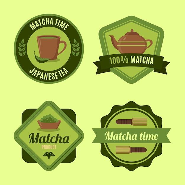 Coleção de emblemas de chá matcha verde Vetor grátis
