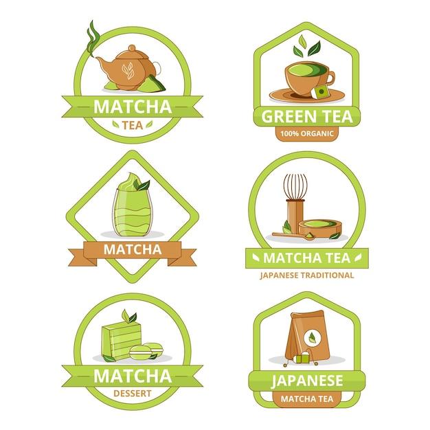 Coleção de emblemas de chá matcha Vetor grátis
