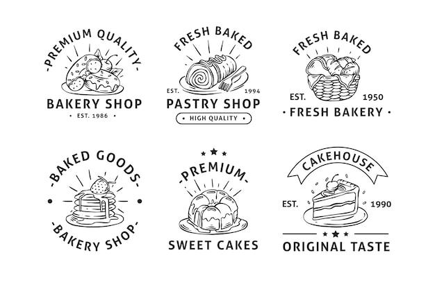 Coleção de emblemas de etiquetas de logotipo de padaria desenhada à mão Vetor Premium