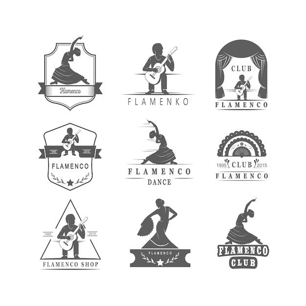 Coleção de emblemas de flamenco. Vetor Premium