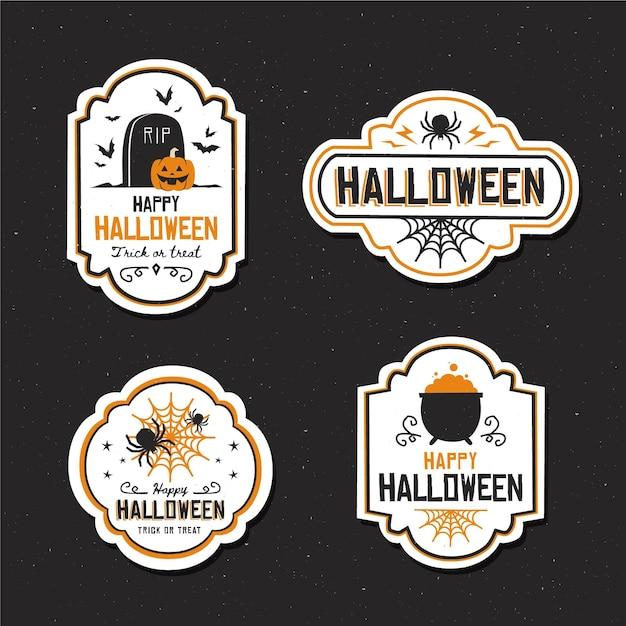 Coleção de emblemas de halloween de design plano Vetor grátis