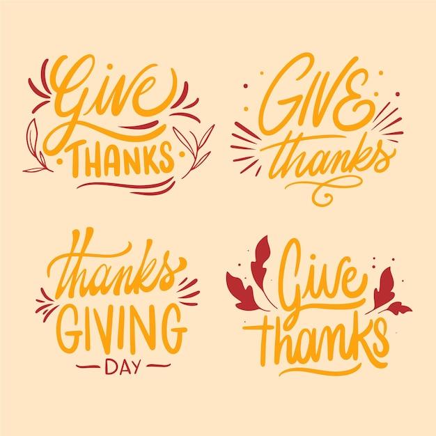 Coleção de emblemas de letras feliz dia de graças Vetor grátis