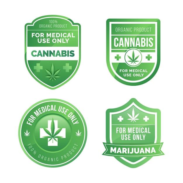 Coleção de emblemas de maconha medicinal Vetor grátis