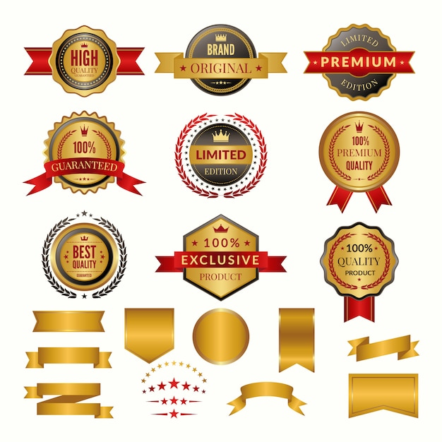 Coleção de emblemas de ouro de luxo e logotipos. Vetor Premium