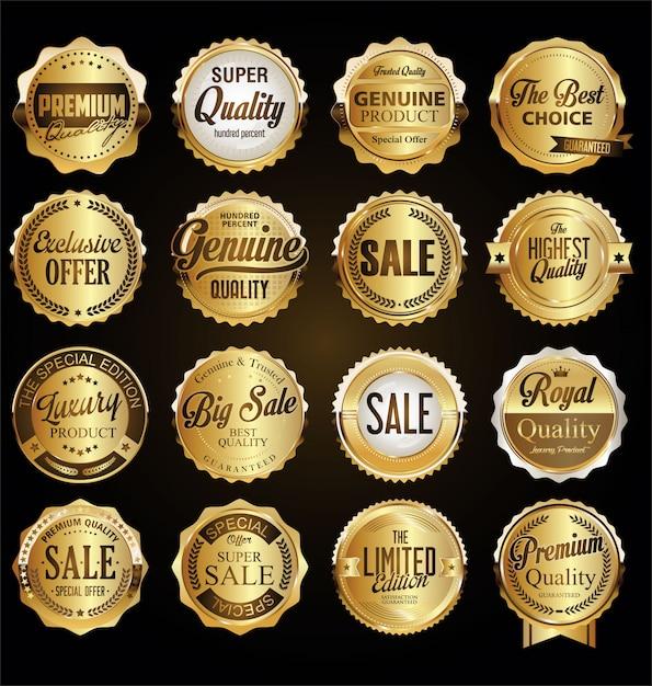 Coleção de emblemas de qualidade premium retro vintage e rótulos Vetor Premium