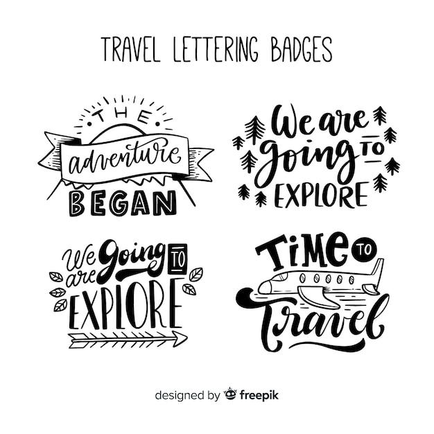Coleção de emblemas de viagens de letras Vetor grátis