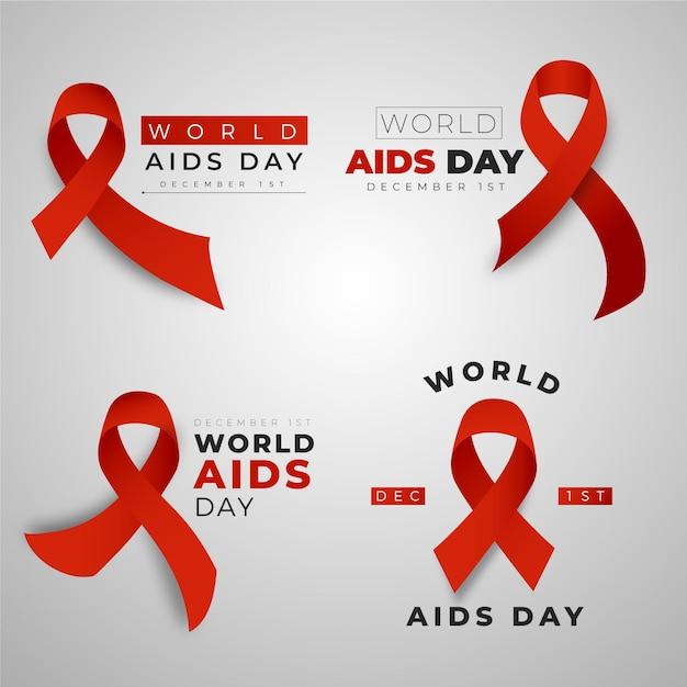 Coleção de emblemas do dia mundial da aids com fitas vermelhas Vetor Premium
