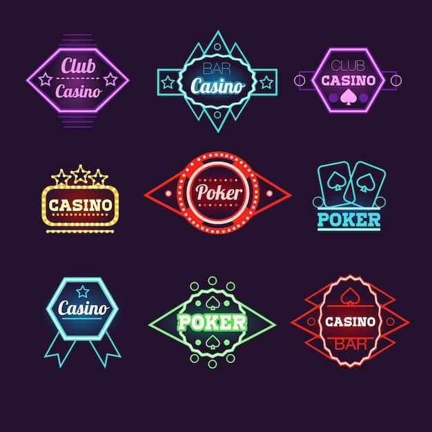 Coleção de emblemas do neon light poker club e do cassino Vetor Premium