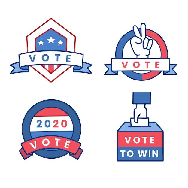Coleção de emblemas e adesivos de votação Vetor grátis