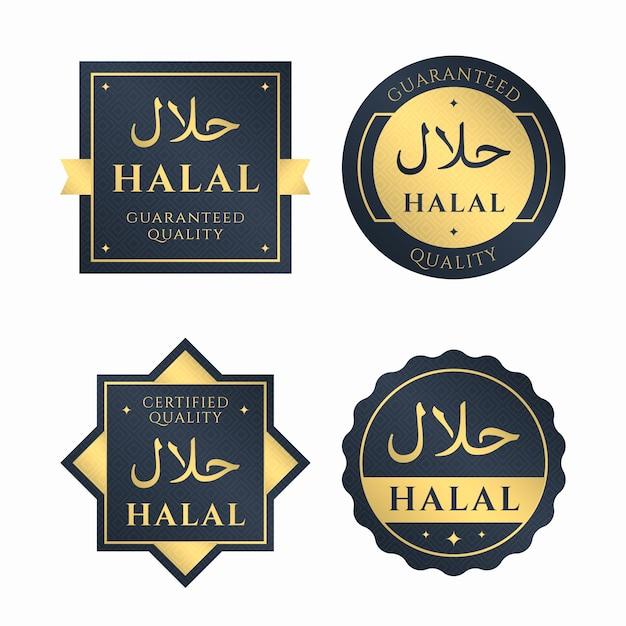 Coleção de emblemas / etiquetas para halal Vetor Premium