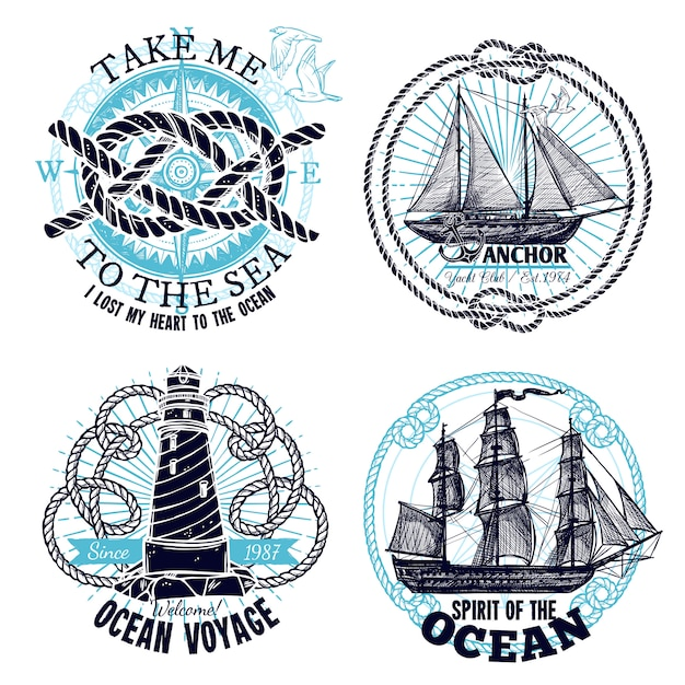Coleção de emblemas marinhos Vetor grátis