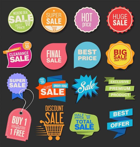 Coleção de emblemas modernos coloridos e rótulos Vetor Premium