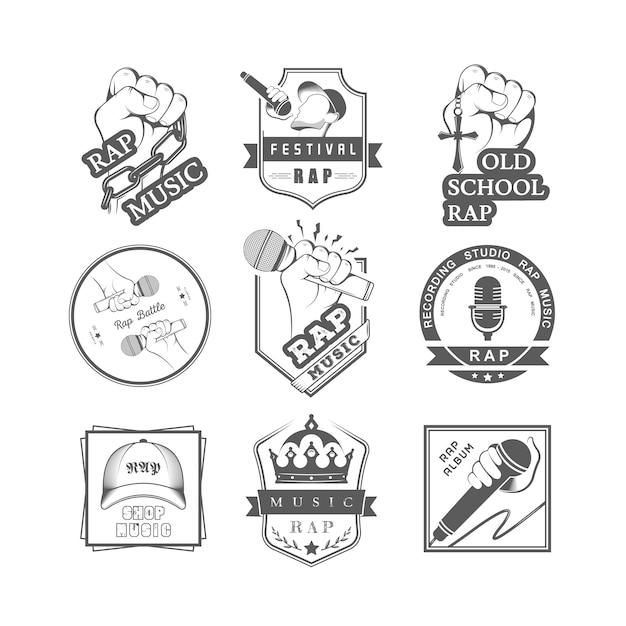 Coleção de emblemas rap music Vetor Premium