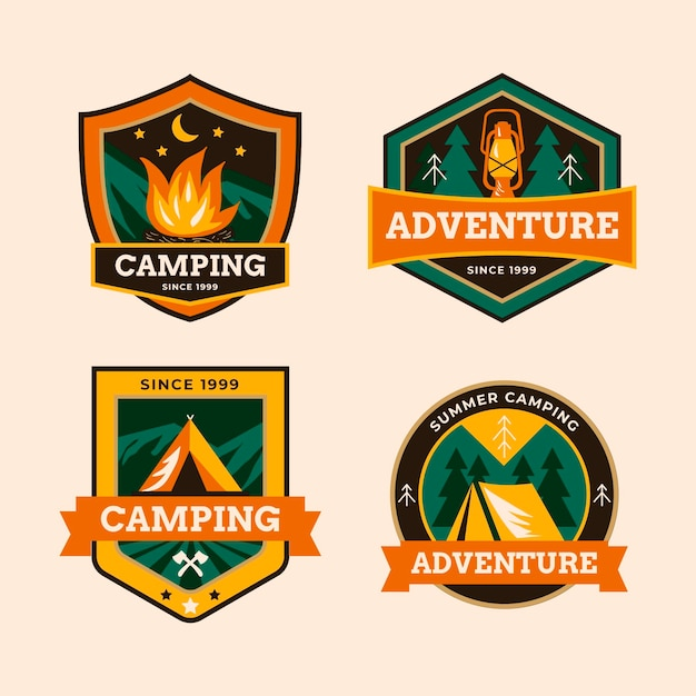 Coleção de emblemas vintage de acampamento Vetor grátis