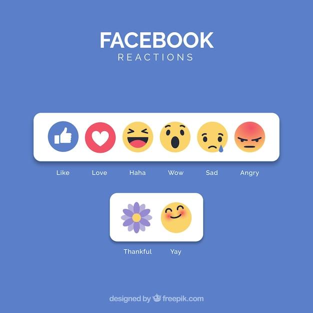 Coleção de emoji do facebook com design plano Vetor grátis