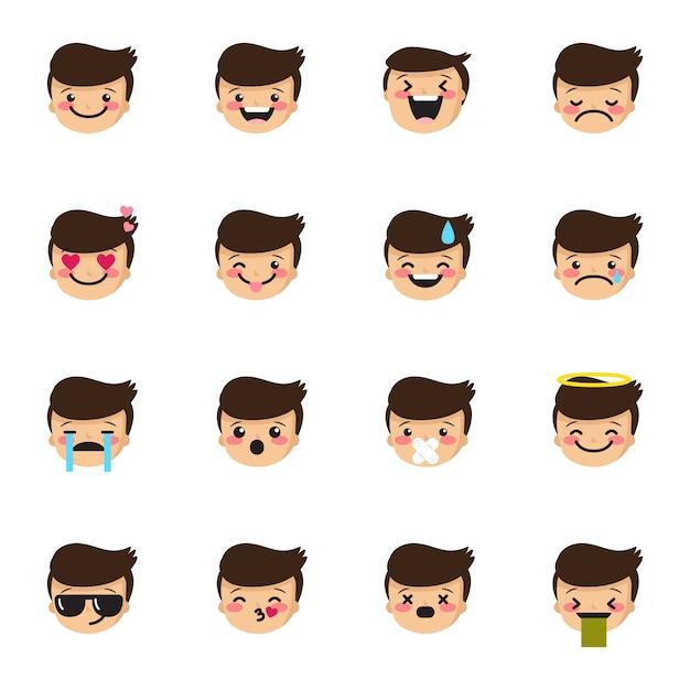 Coleção de emoticons de menino Vetor Premium