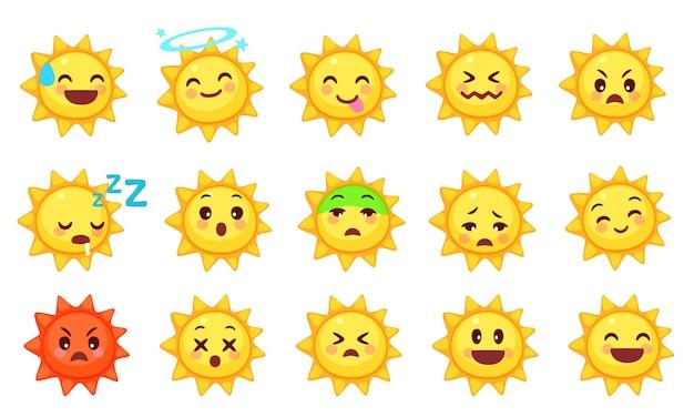 Coleção de emoticons de sol fofos Vetor Premium
