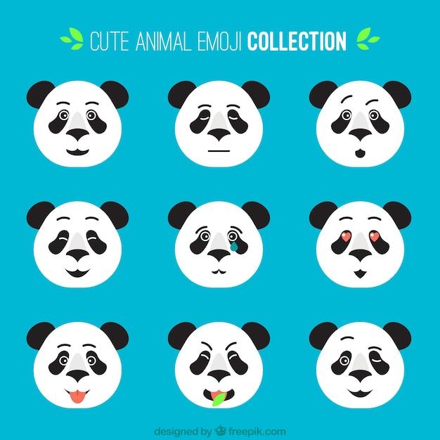 Coleção de emoticons panda achatado com diferentes expressões faciais Vetor grátis