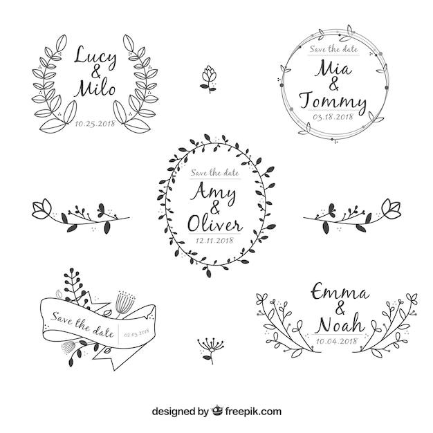 Coleção de enfeite de casamento floral elegante Vetor grátis