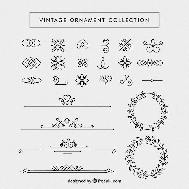 Coleção de enfeite vintage com estilo elegante Vetor grátis