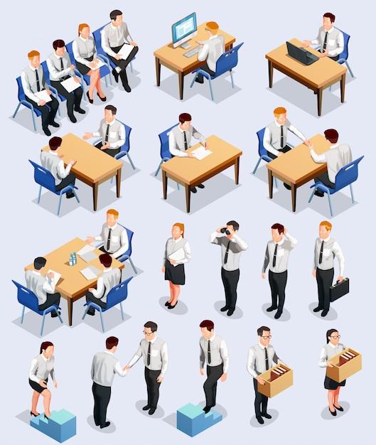 Coleção de entrevista de emprego isométrica Vetor grátis