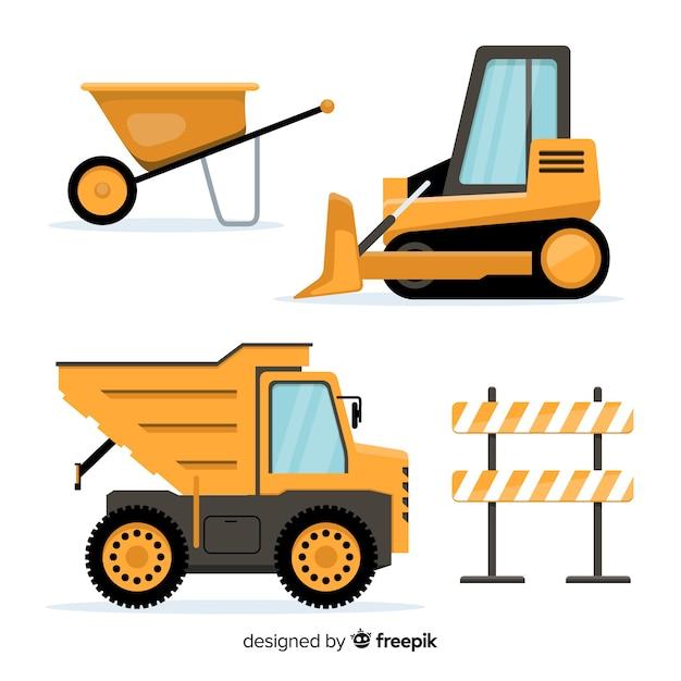 Coleção de equipamentos de construção plana Vetor grátis