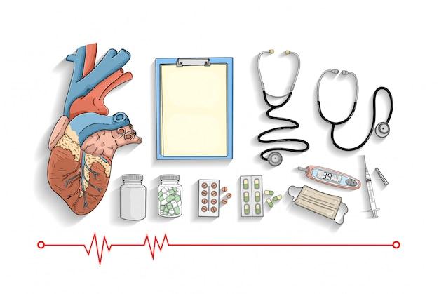 Coleção de equipamentos médicos Vetor Premium