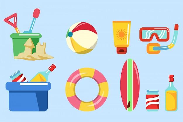Coleção de equipamentos para férias de praia. Vetor Premium