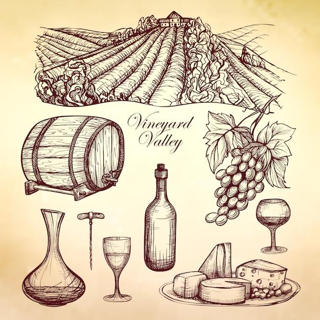 Coleção de esboço de vinho Vetor grátis