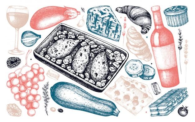 Coleção de esboços de ingredientes e pratos da culinária francesa. mão-extraídas ilustrações de alimentos e bebidas. elementos do menu de comida e bebidas do restaurante francês vintage. conjunto de estilo gravado. Vetor Premium