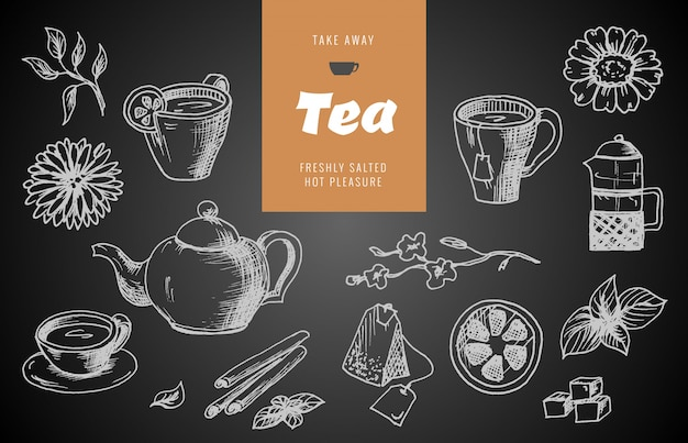 Coleção de esboços de mão desenhada sobre o tema do chá. Vetor Premium