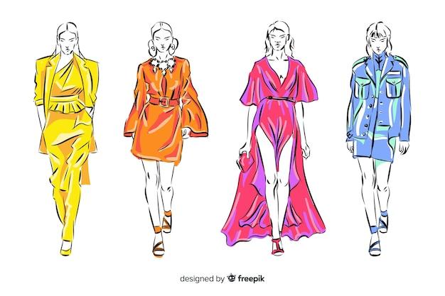 Coleção de esboços de modelos de moda Vetor grátis