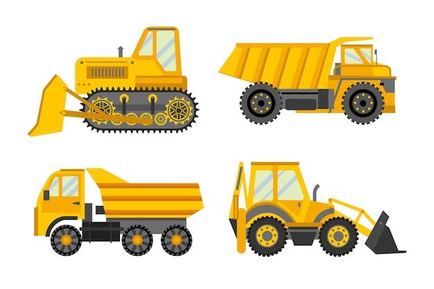 Coleção de escavadeira de design plano Vetor grátis