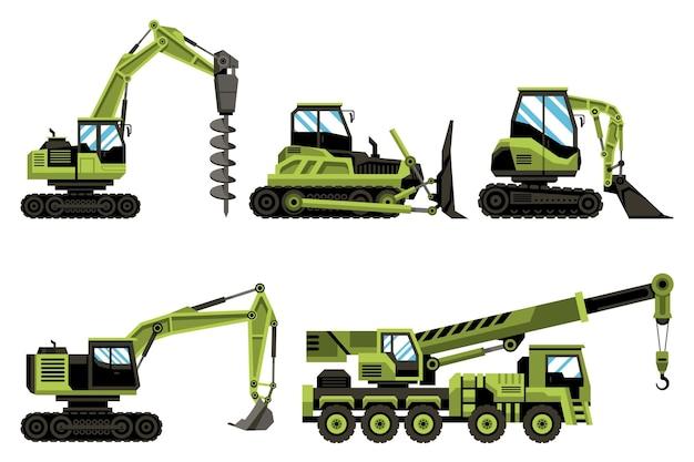 Coleção de escavadeiras verdes Vetor grátis