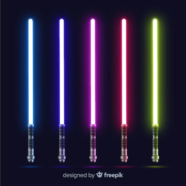 Coleção de espada de luz colorida Vetor grátis