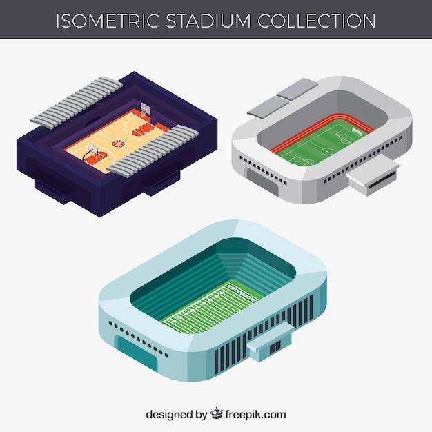 Coleção de estádios em estilo isométrico Vetor grátis