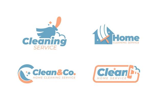 Coleção de estilo de logotipo de limpeza Vetor Premium