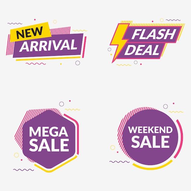 Coleção de estilo de memphis de banner de venda Vetor Premium