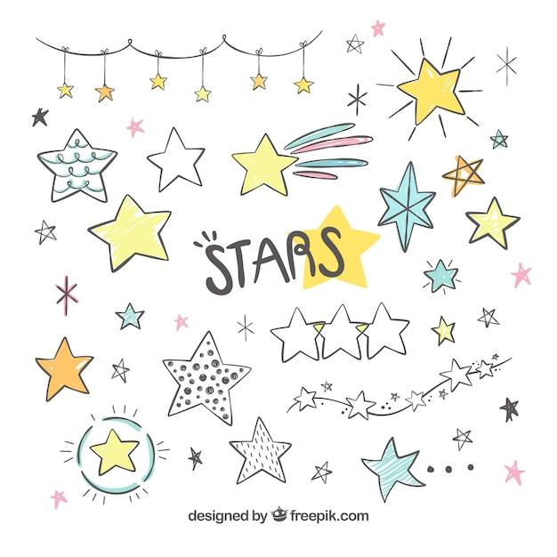 Coleção de estrelas desenhadas a mão Vetor grátis