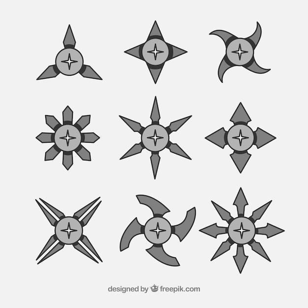 Coleção de estrelas ninja tradicional com design plano Vetor grátis