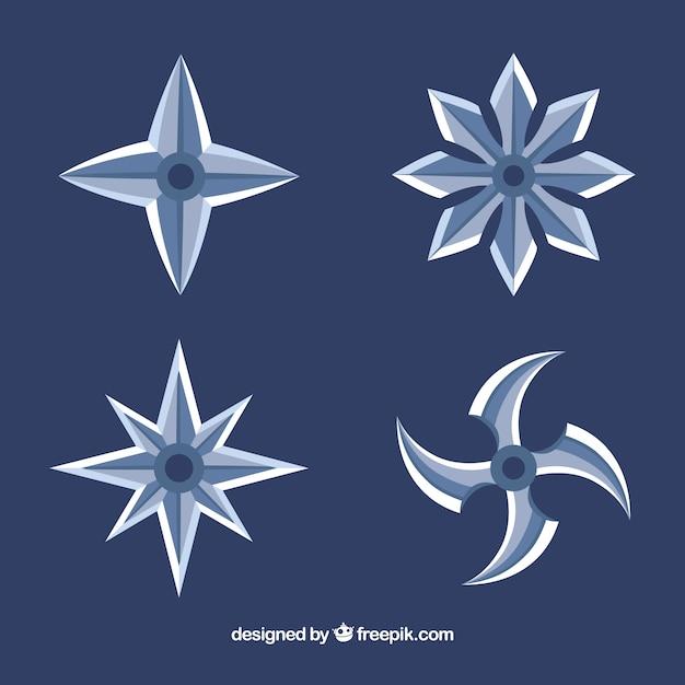 Coleção de estrelas ninja trditional com design plano Vetor grátis