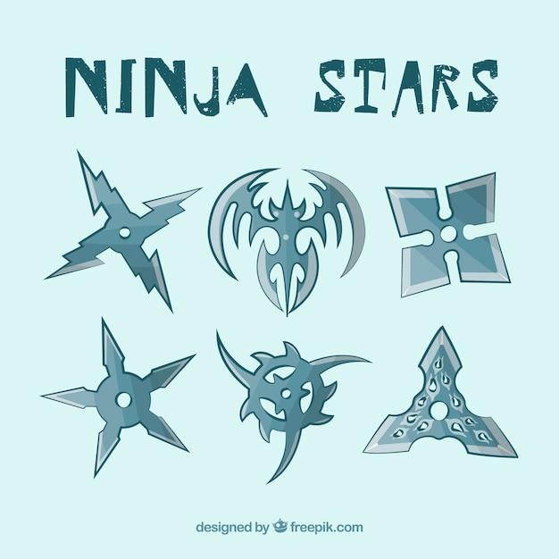 Coleção de estrelas ninja Vetor grátis