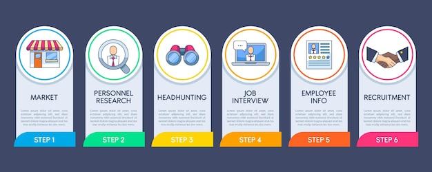 Coleção de etapas no processo de contratação Vetor grátis