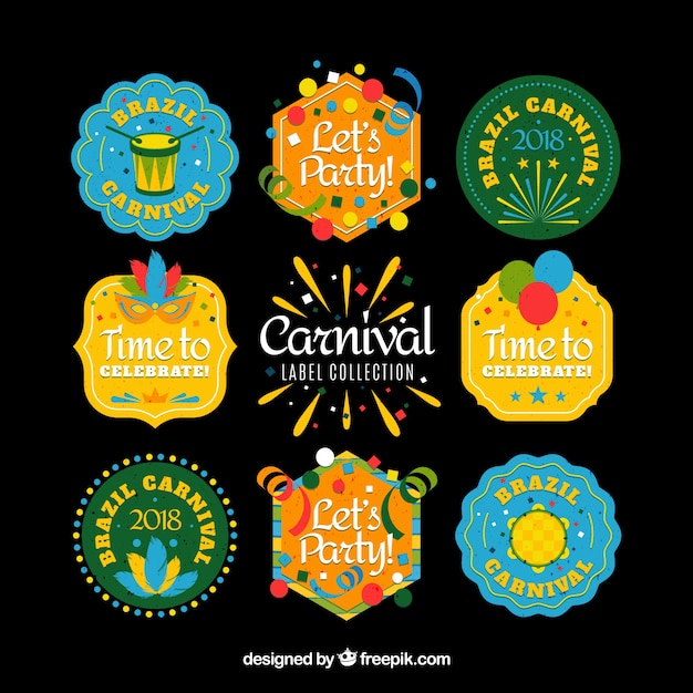 Coleção de etiqueta / badge de carnaval brasileiro plano Vetor grátis
